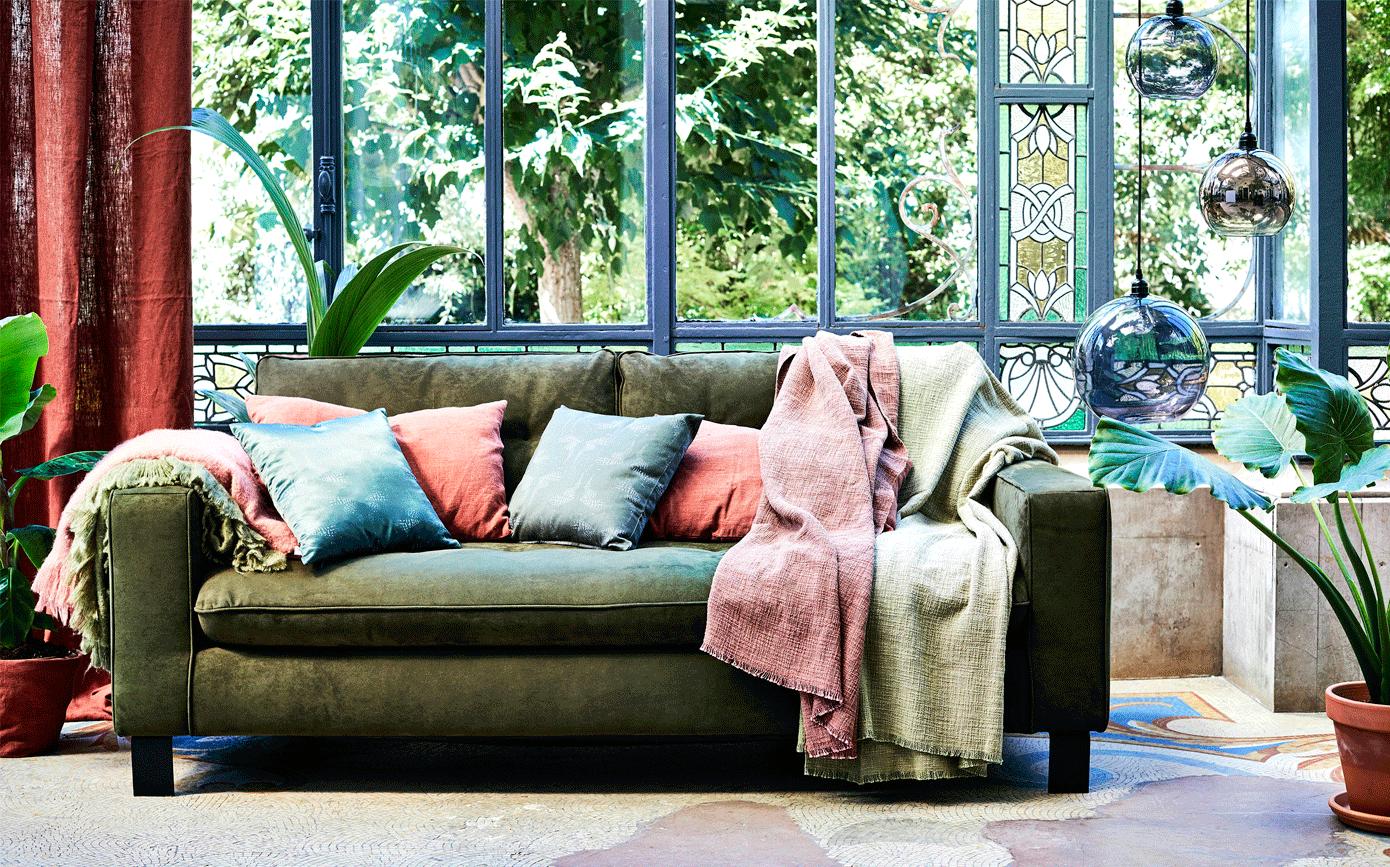 Canapé 3 places fixe en tissu kaki-ETHNICOLOR