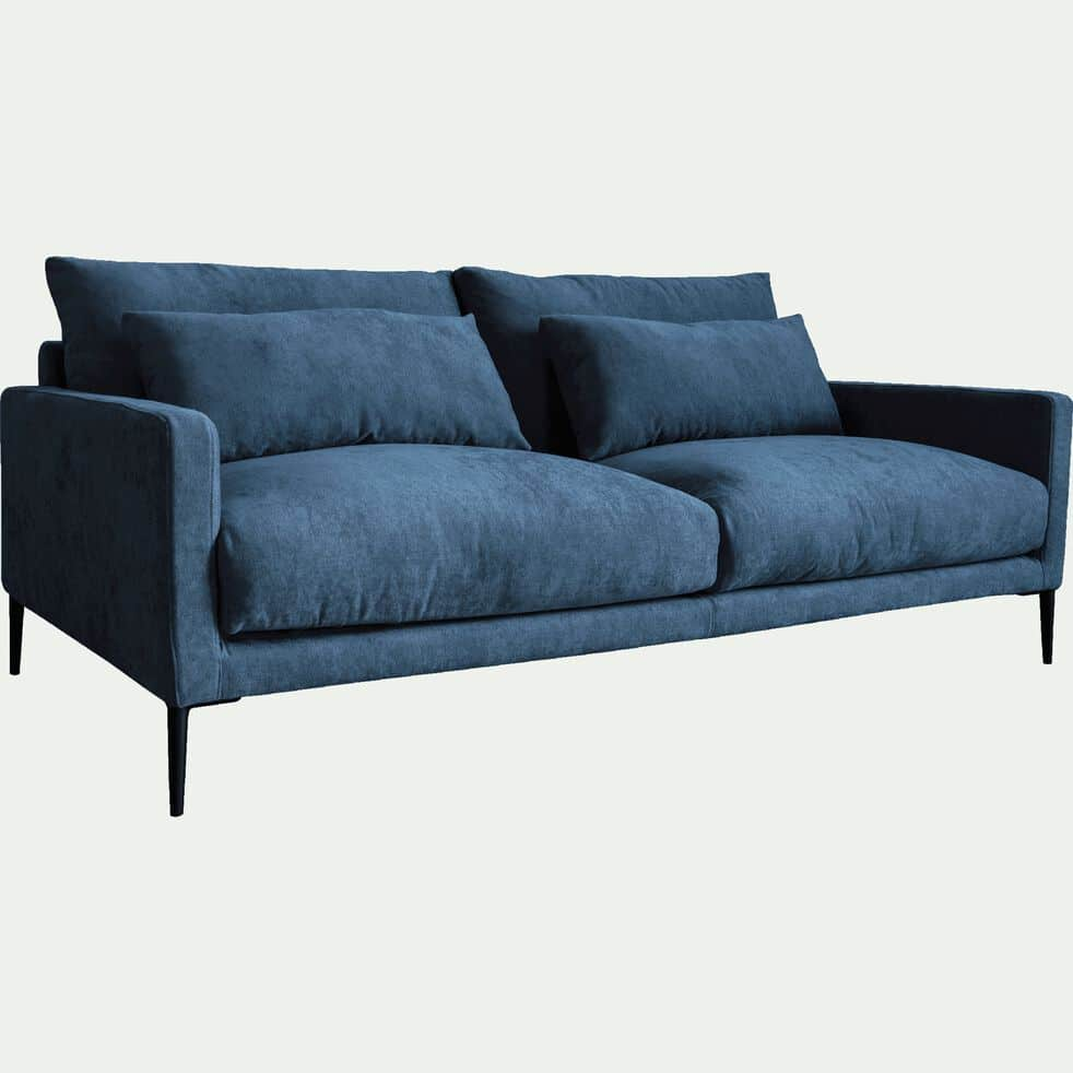 Canapé 3 places fixe en tissu bleu figuerolles-SOZY