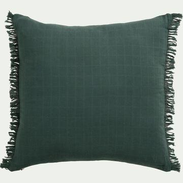 Coussin frangé en coton - verde 45x45cm-ANGELE