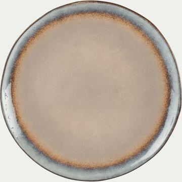 Assiette à dessert en grès taupe 21cm-LUEUR