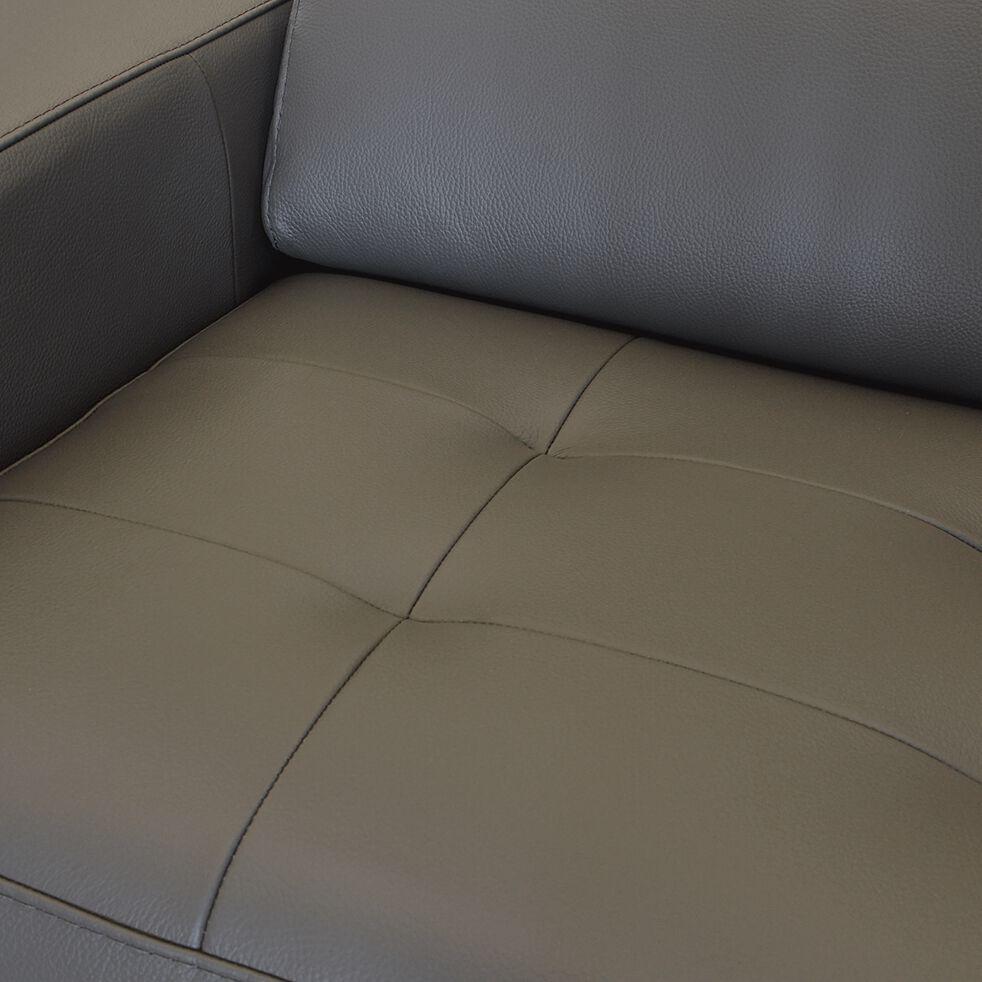 Canapé 3 places fixe en cuir avec accoudoir 15cm - taupe-MAURO