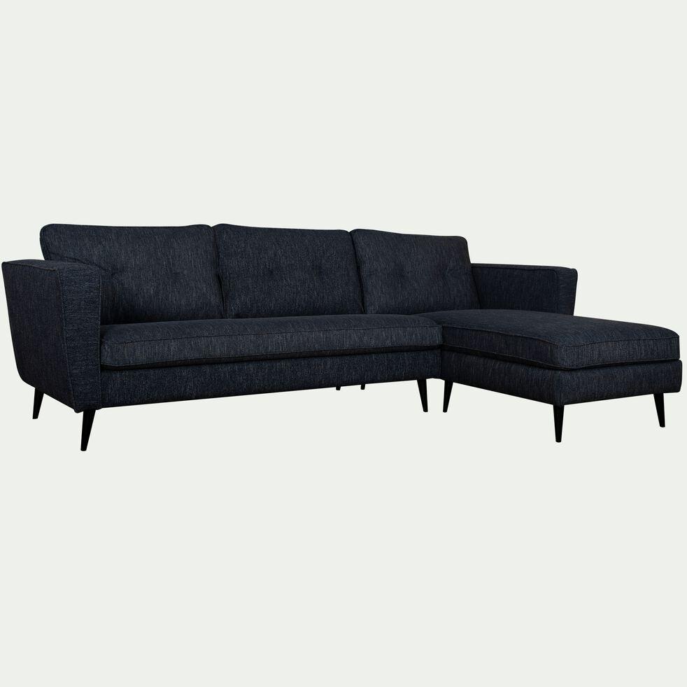 Canapé 4 places d'angle droit fixe en tissu - bleu myrte-BARTHOLE