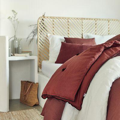 Housse de couette et 2 taies d'oreiller en coton lavé - rouge terracotta 240x220cm-MANTA