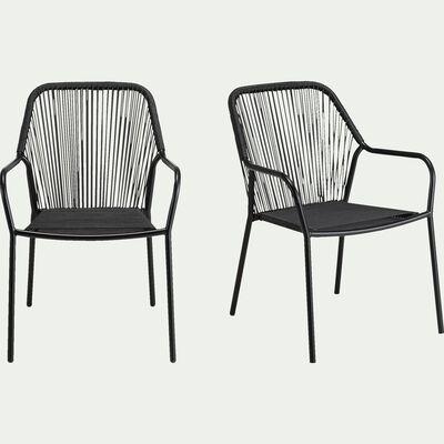Chaise de jardin avec accoudoirs en acier et corde - noir-JADIS