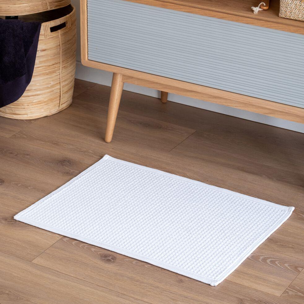 Tapis de bain chenille en polyester - blanc ventoux 50x80cm-PICUS