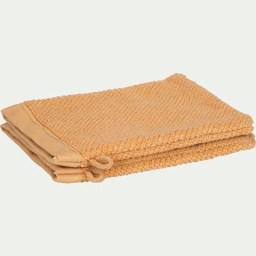 Gant de toilette bouclette en coton bio - marron camel-COLINE