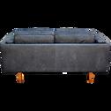Canapé 2 places fixe en cuir de vachette noir-BROOKLYN