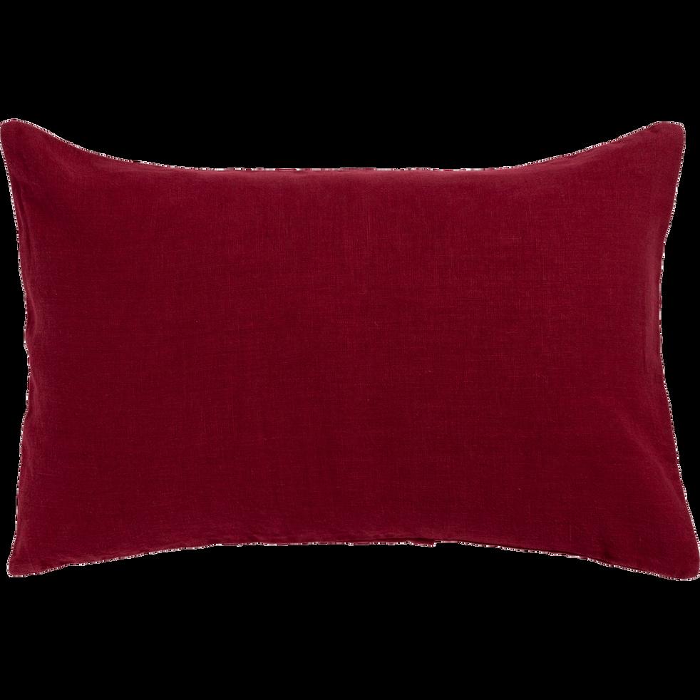 Coussin en lin lavé rouge sumac 40x60cm-VENCE