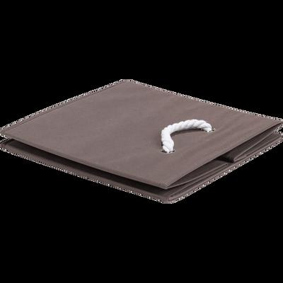 Panier carré pliable taupe 31x31x31 cm-CORDE
