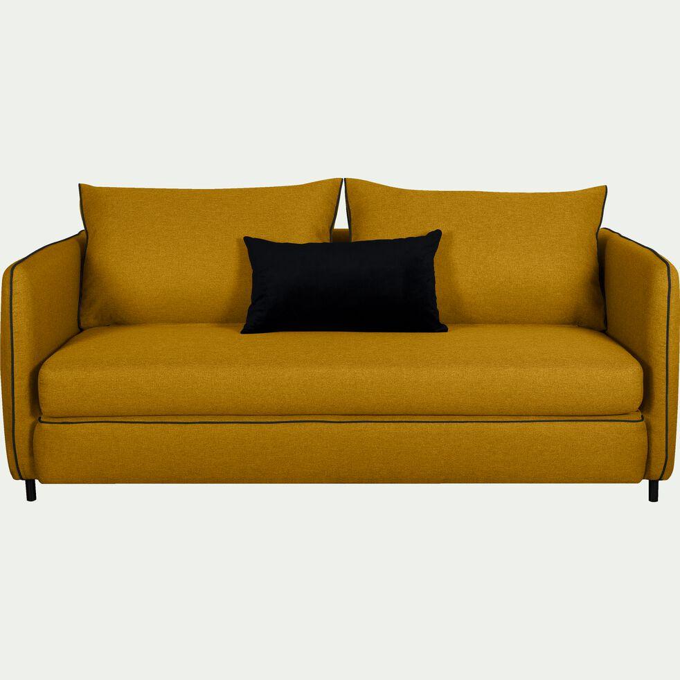 Canapé 3 places convertible en tissu - jaune nèfle-SAOU
