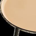 Bout de canapé en acier epoxy avec plateau sable rosé émaillé-VITOUR