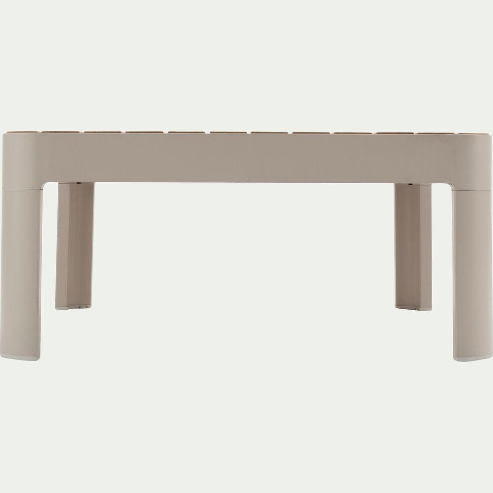 Table basse de jardin carrée en Teck FSC et aluminium-Portals