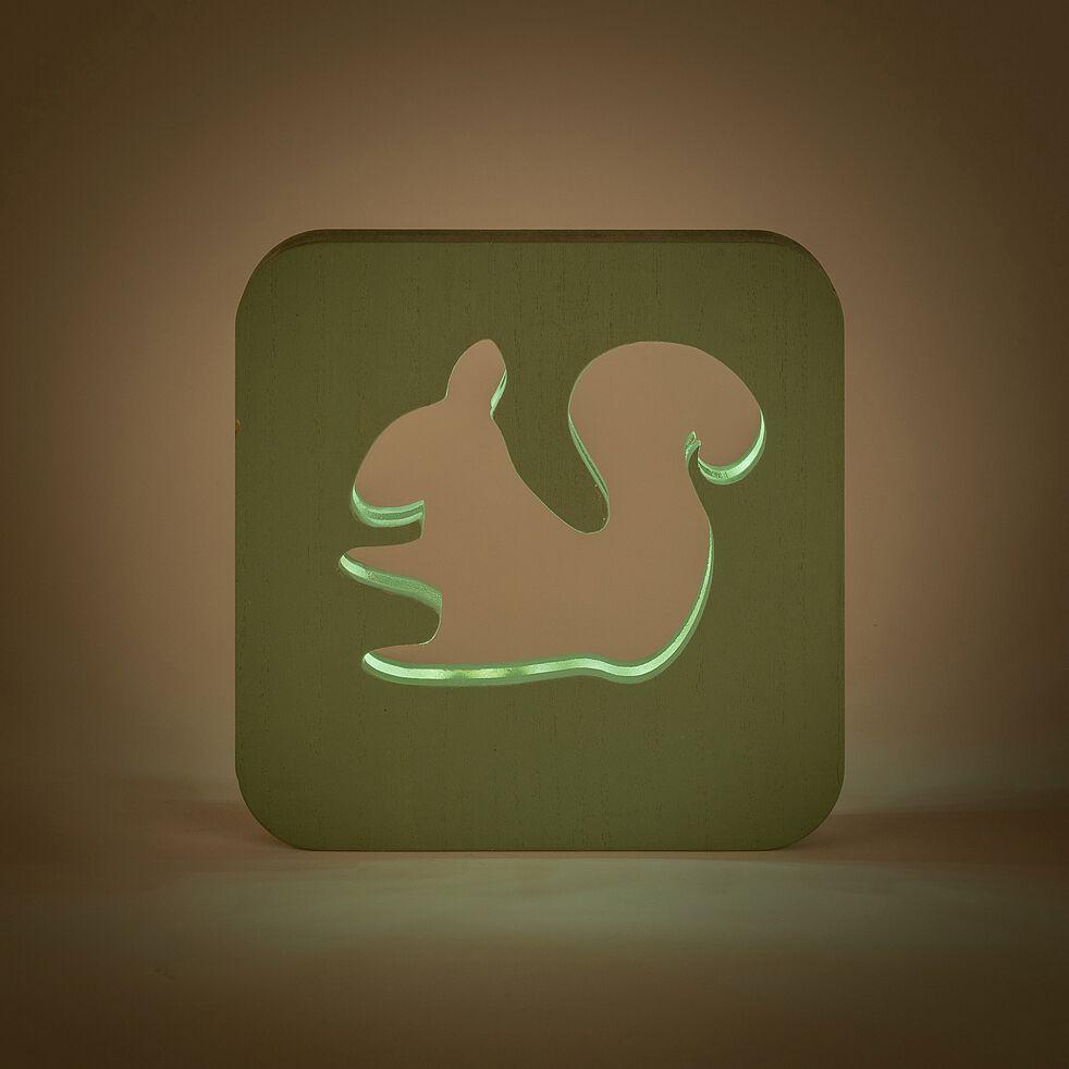 Veilleuse écureuil en bois avec bande led non électrifiée - vert-Clarour