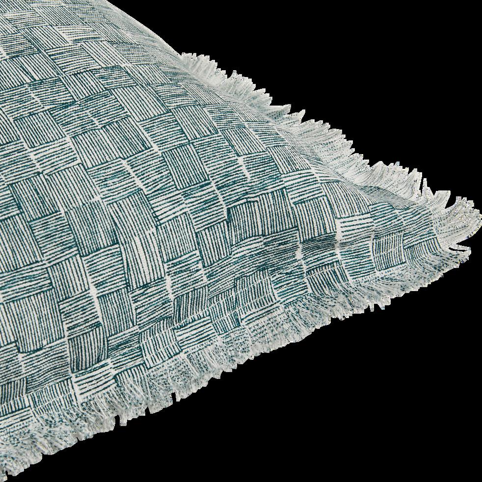 Coussin lin et coton à motif et frange 40x40 cm-GRANS