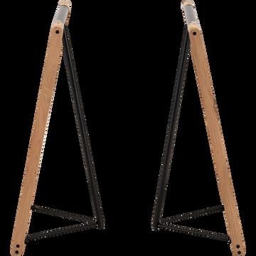2 tréteaux en chêne massif et acier-ARCAN