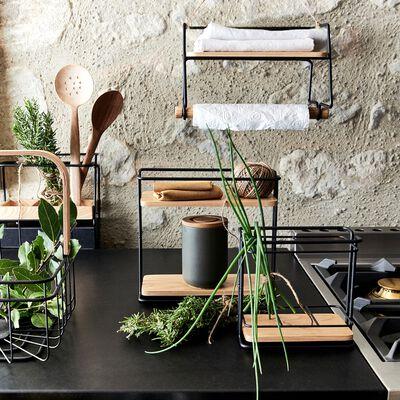 Support pour pot à épices en métal et bois H28cm-LAUTIN