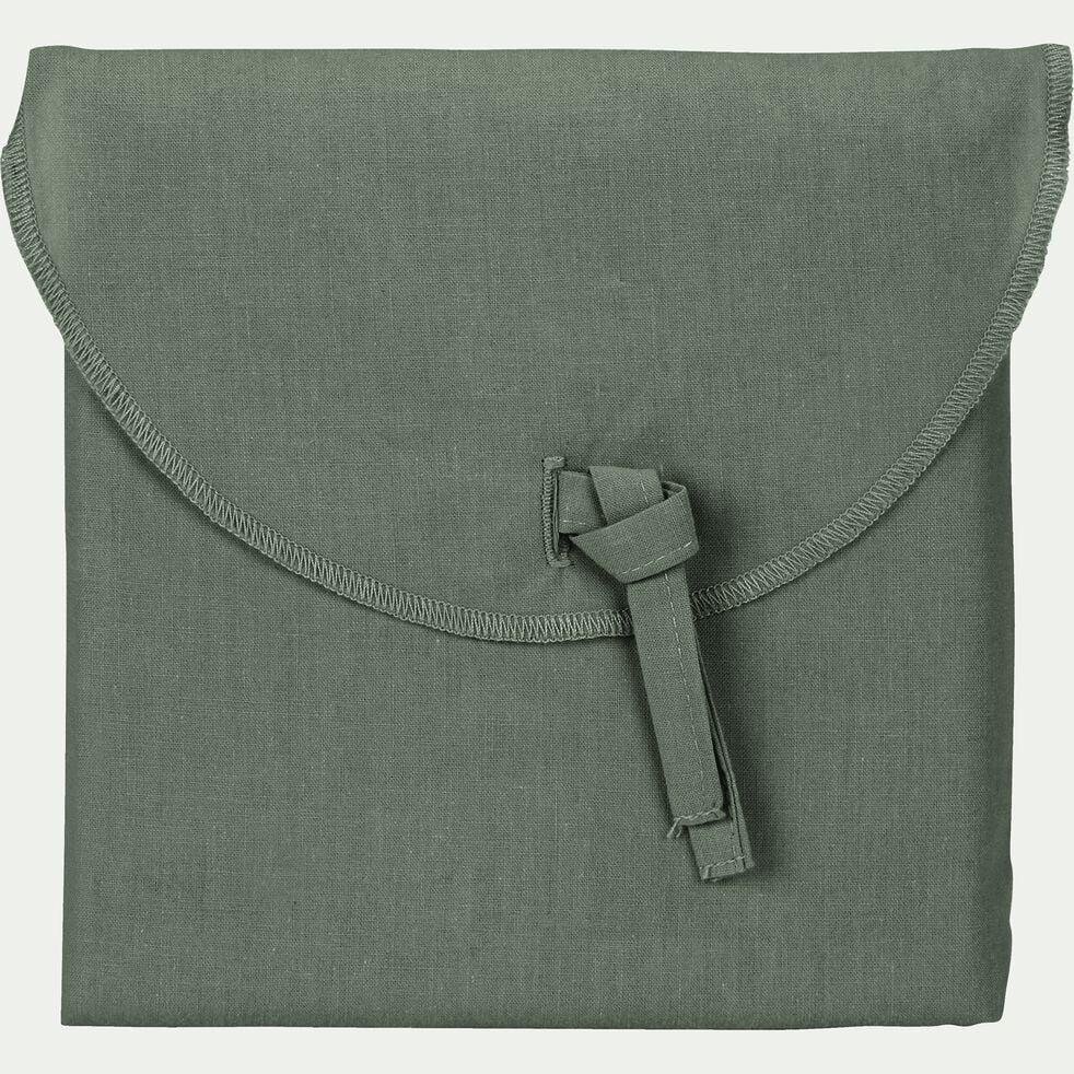 Lot de 2 taies d'oreiller en percale de coton - vert cèdre 50x70cm-FLORE
