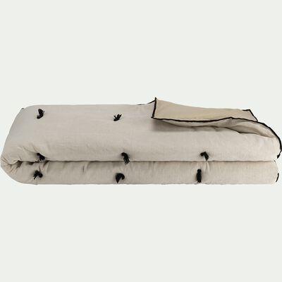 Édredon en coton et lin piquage pompons - blanc écru 100x180cm-ELINA