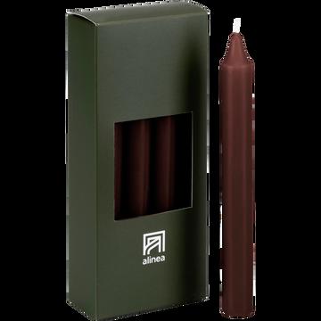 8 bougies flambeaux brun ombre H18cm-HALBA