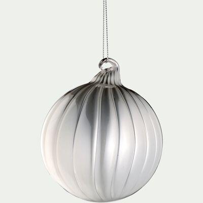 Boule de Noël en verre - écru D8cm-BIZO
