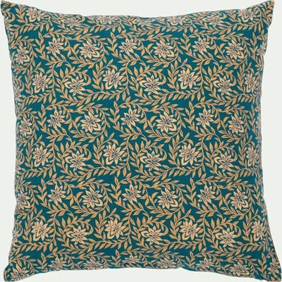 Coussin en coton motif floral bleu niolon 40x40cm-JASMIN