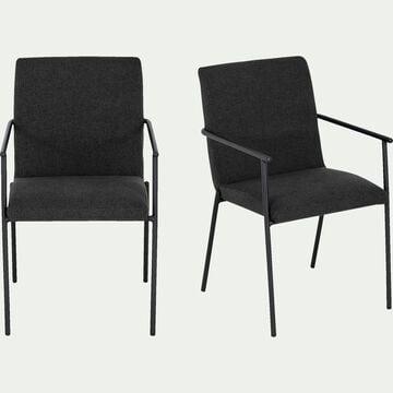 Chaise en tissu avec accoudoirs noir-JASPE