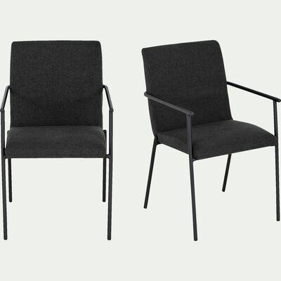 Chaise en tissu avec accoudoirs - noir-JASPE
