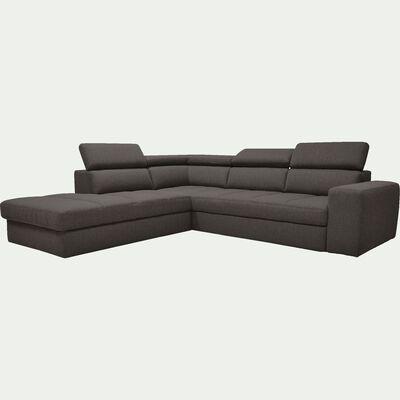 Canapé d'angle gauche panoramique convertible en tissu - gris anthracite-TONIN