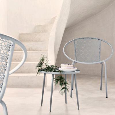 Table d'appoint de jardin en métal - gris vésuve (D45cm)-Clementine
