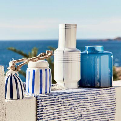 Boîte rayée en céramique - bleu et blanc D12xH16cm-TIAGO
