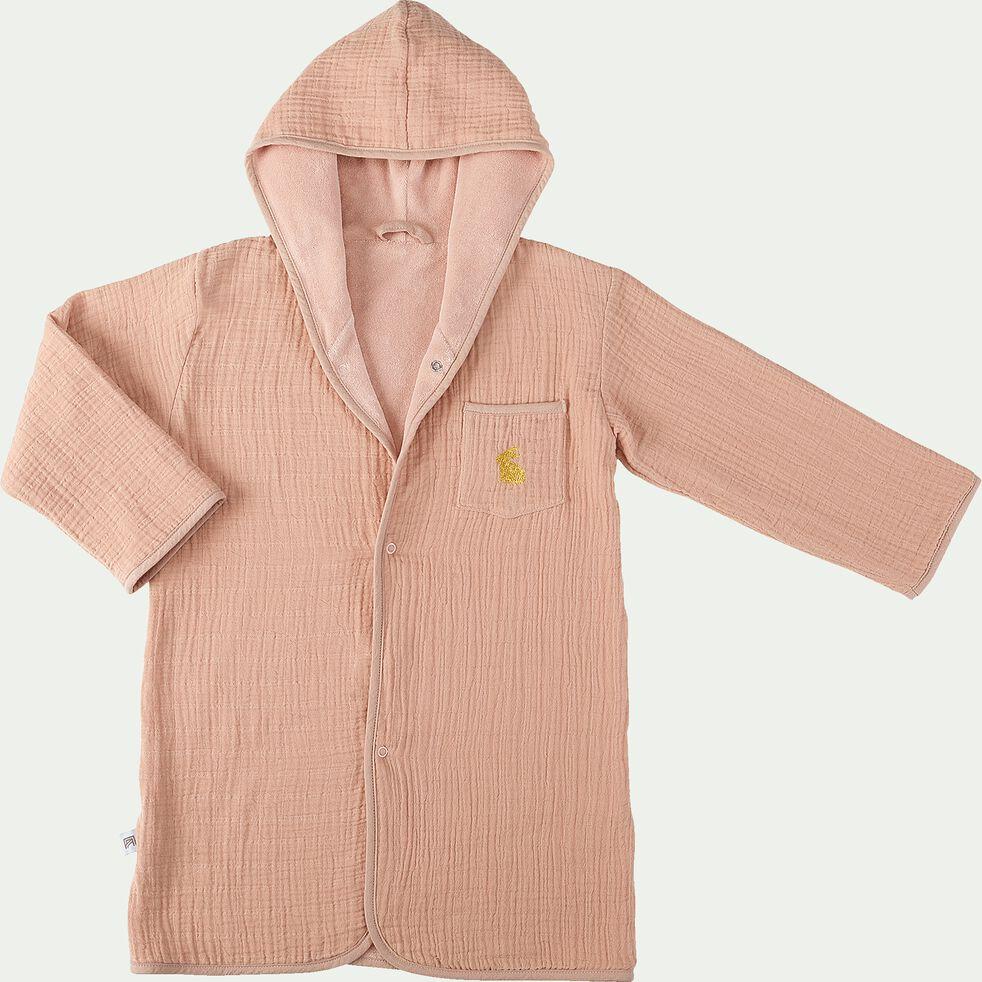 Peignoir enfant 2 à 4 ans en coton bio avec broderie lurex - rose salina-Nuage