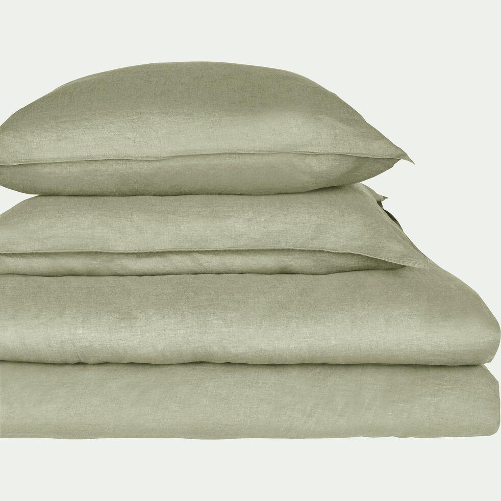 Drap housse en lin - vert olivier 140x200cm B28cm-VENCE