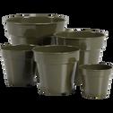 Cache-pot vert cèdre en fer D27xH23cm-FLORA