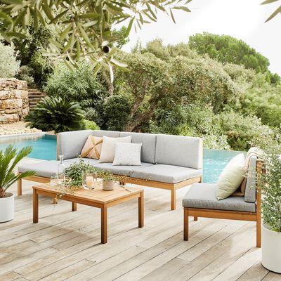 Salon de jardin en acacia et coussins gris (4 à 6 places)
