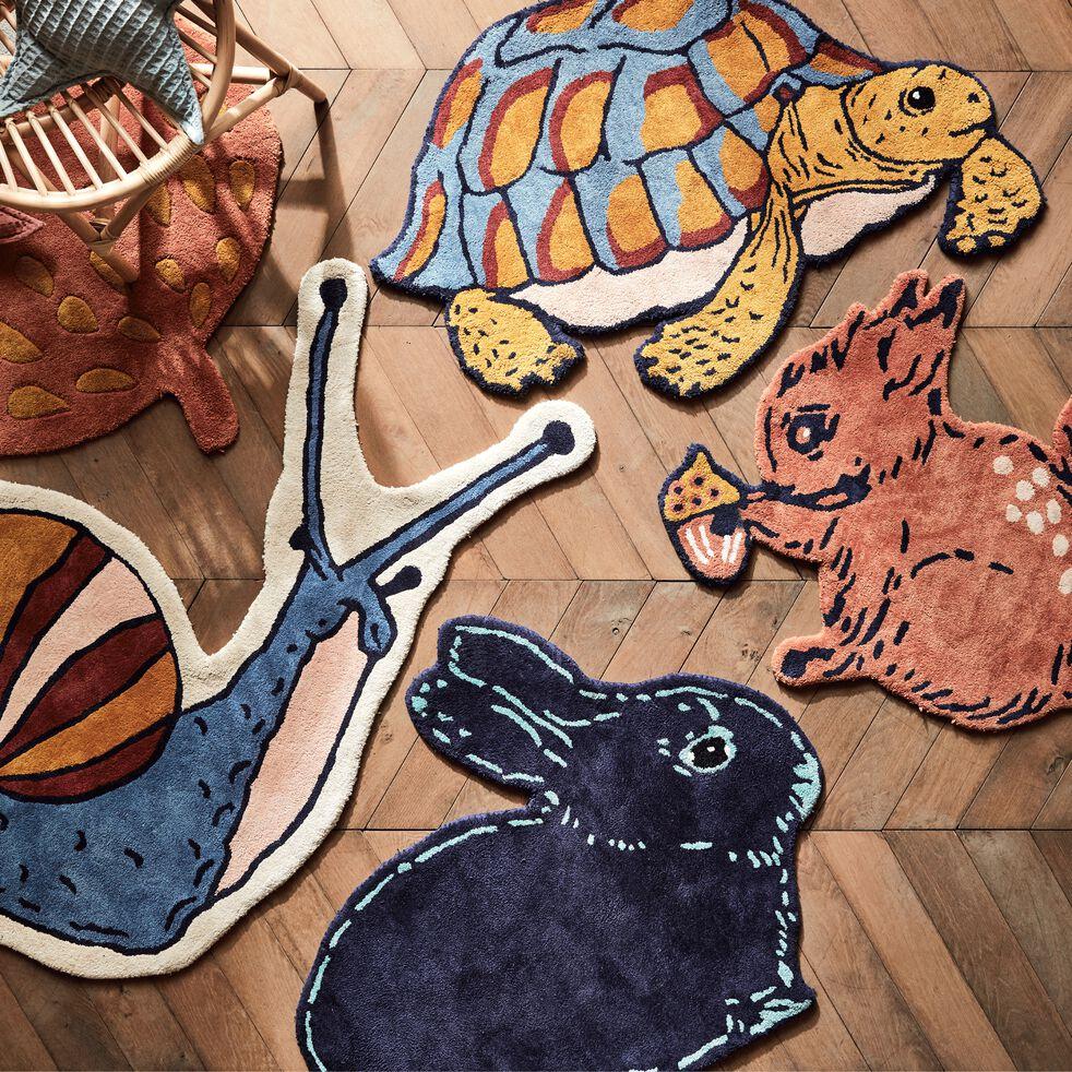 Tapis enfant tufté main forme lapin 80x100cm - bleu foncé-Janeto