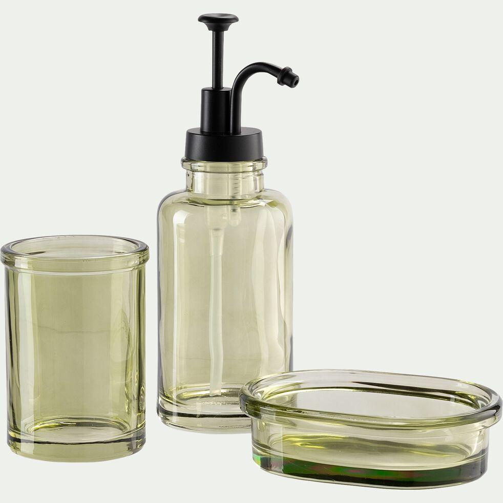 Porte brosse à dent en verre - vert garrigue-MIMOSA