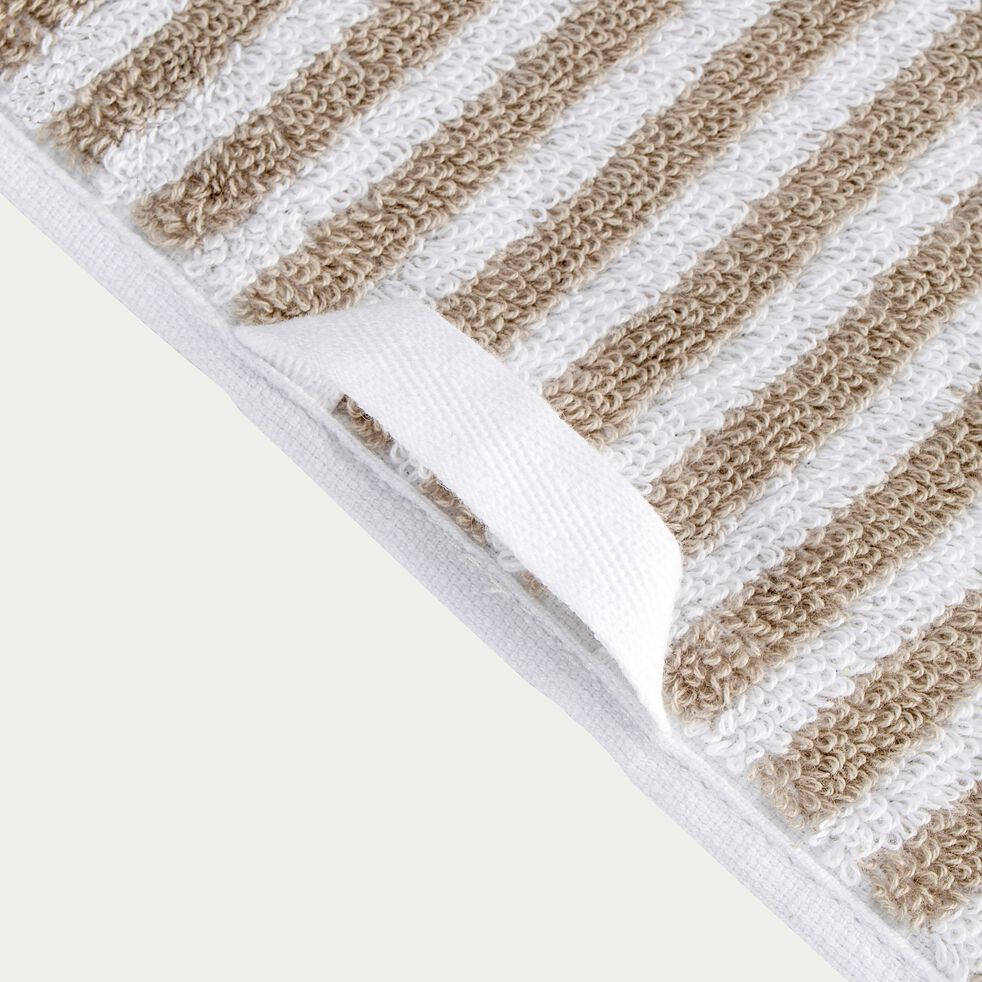 Drap de douche rayé en coton - beige alpilles 70x140cm-Gary