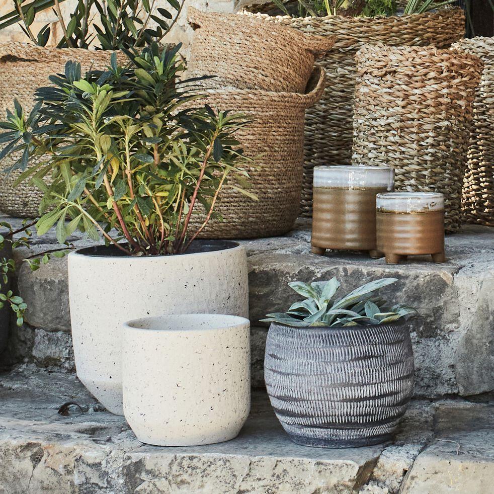 Pot à motif en céramique - gris anthracite D16xH13cm-OREZZA