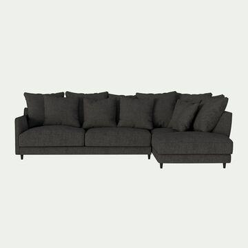 Canapé d'angle droit fixe en tissu joint - gris restanque-LENITA