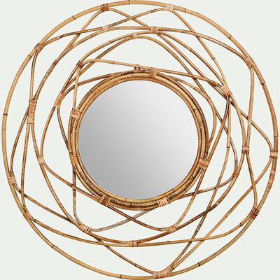 Miroir rose en kubu - naturel D90cm-LUTEA