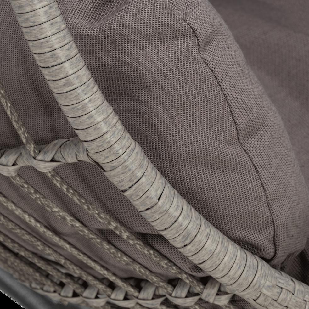 Fauteuil suspendu gris effet rotin tressé-RHEA
