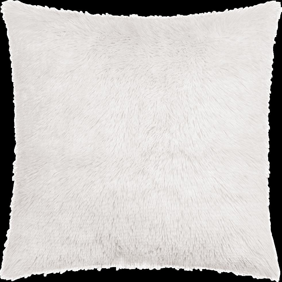housse de coussin carr e poils longs blancs 40x40cm. Black Bedroom Furniture Sets. Home Design Ideas