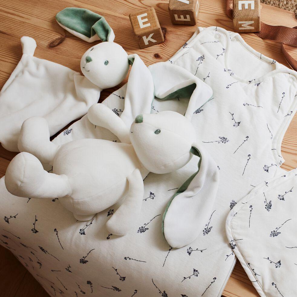 Doudou lapin - blanc et vert H38cm-Zoe