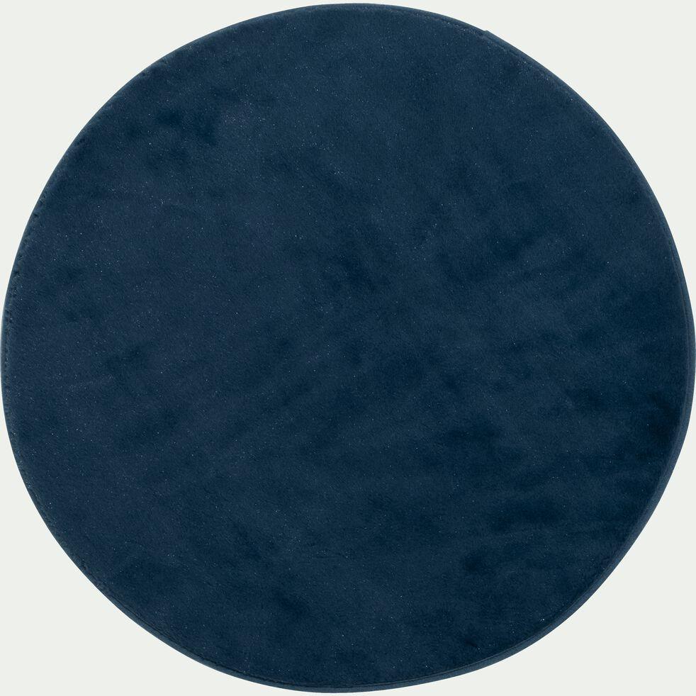 Tapis rond imitation fourrure - bleu figuerolles D150cm-ROBIN
