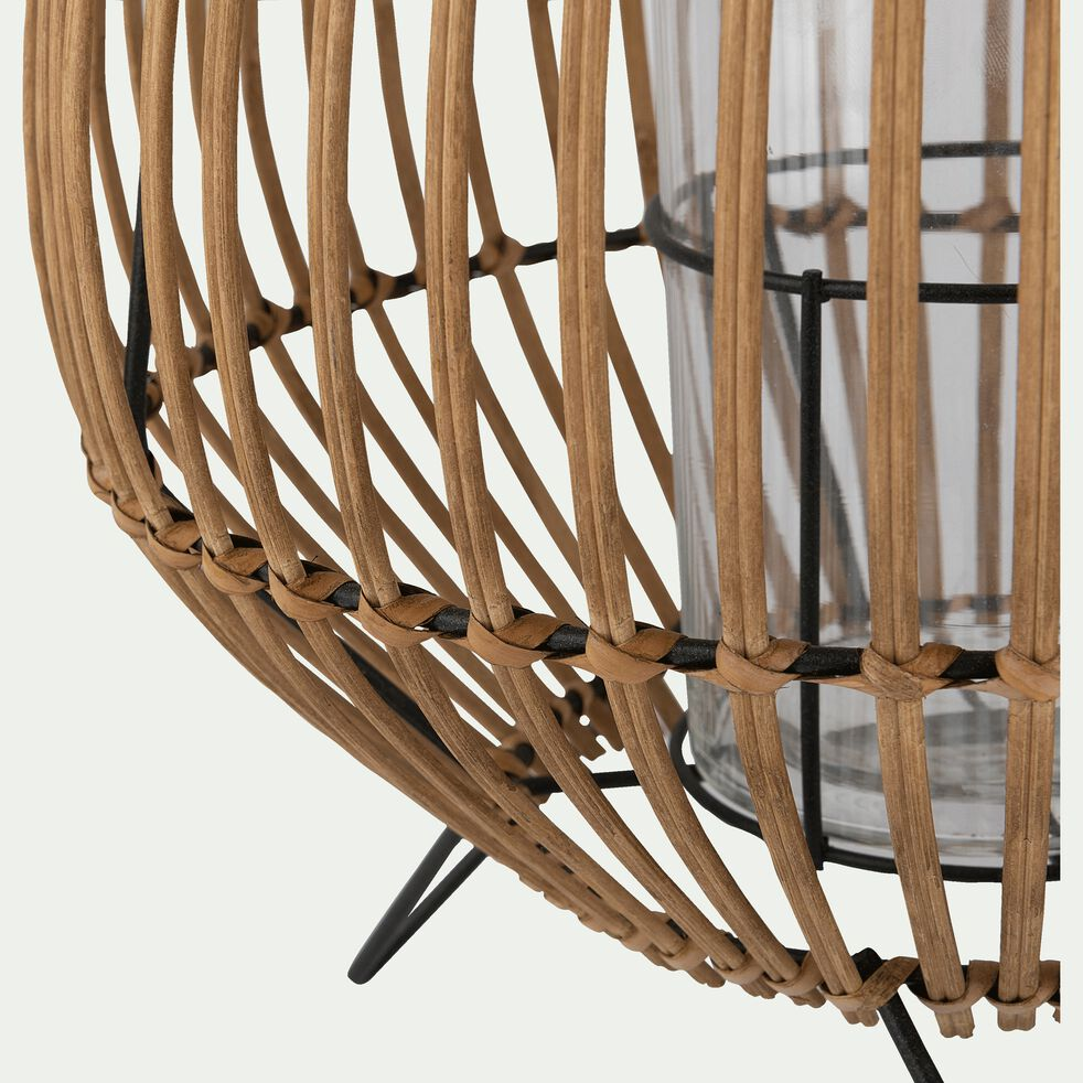 Photophore rond en bambou - naturel H33cm-THU