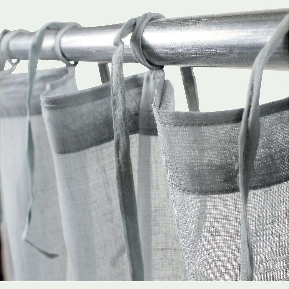 Voilage à nouettes en coton - gris 105x250cm-LOLA