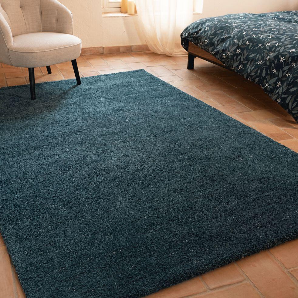 stessy tapis mouchete bleu canard 160x230cm