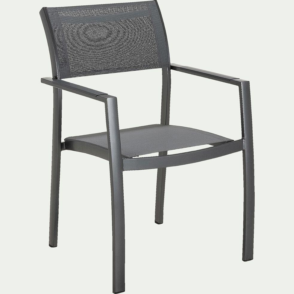Chaise de jardin avec accoudoirs en aluminium et textilène - gris-ADANA