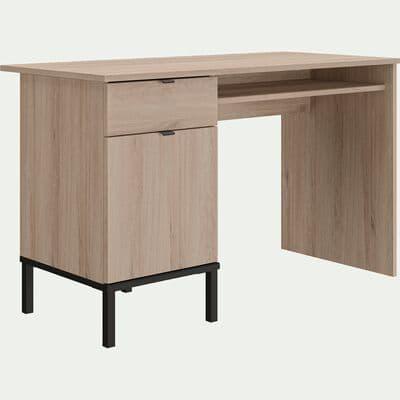 Bureau enfant un tiroir et une porte finition chêne-CASTEL