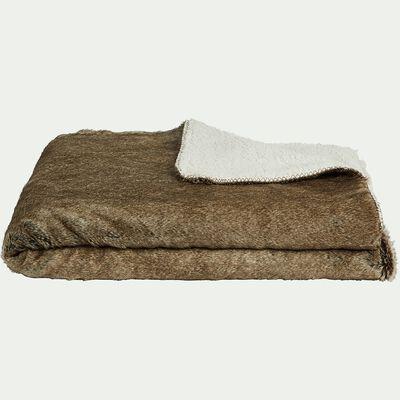 Plaid en fausse fourrure marron 130x170cm-GUSTAVE